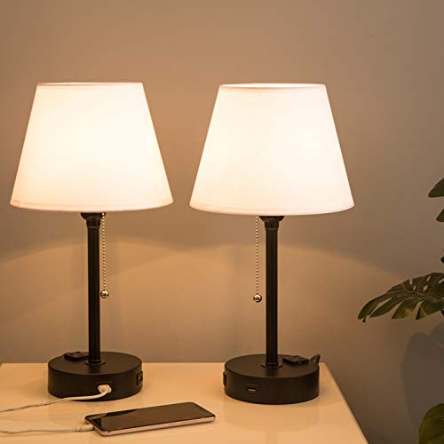Lifeholder Bedside Lamps, Table Lamp with Useful Dual USB Ports & A Power Outlet, Minimalist White Shade USB Nightstand Lamp , Desk Lamp Perfect for Bedroom, Living Room or Office (2 Packs)