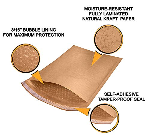 Natural Kraft Bubble mailers 25 Pack 6x9 Padded Envelopes 6 x 9 Brown Cushion mailers. Kraft Paper mailing envelopes with Peel-N-Seel. Bubble Shipping Bags. Wholesale Price. Photo #8