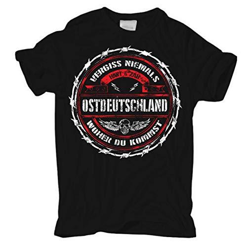 Männer und Herren T-Shirt Ostdeutschland - Vergiss Niemals woher du kommst (mit Rückendruck) Größe S - 8XL
