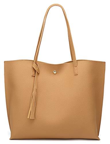 Women's Soft Faux Leather Tote Shoulder Bag from Dreubea, Big Capacity Tassel Handbag Yellowish Brown
