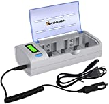 KINDEN Caricabatterie Batterie Universale con Display LCD per Batterie Ricaricabili AA AAA C D 9V Ni-MH Ni-CD(EU Plug)