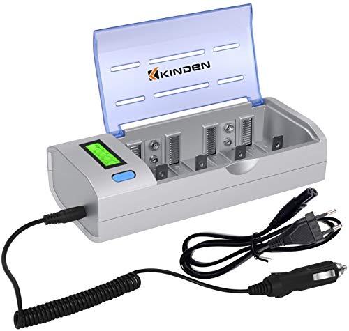 KINDEN LCD Universal Akku Ladegerät Fortschrittliches Batterieladegerät für AA AAA Ni-MH Ni-Cd Wiederaufladbare Batterien Entladungmit Auto-Ladegerät und EU-Netzadapter