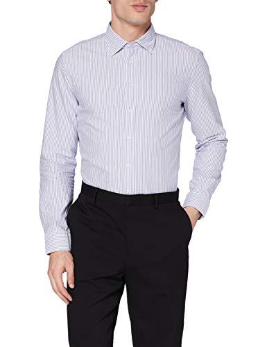 Seidensticker Herren Slim Langarm mit Button-Down Kragen Soft Gestreift Smart Business Businesshemd, Blau (Blau 12), 41 cm
