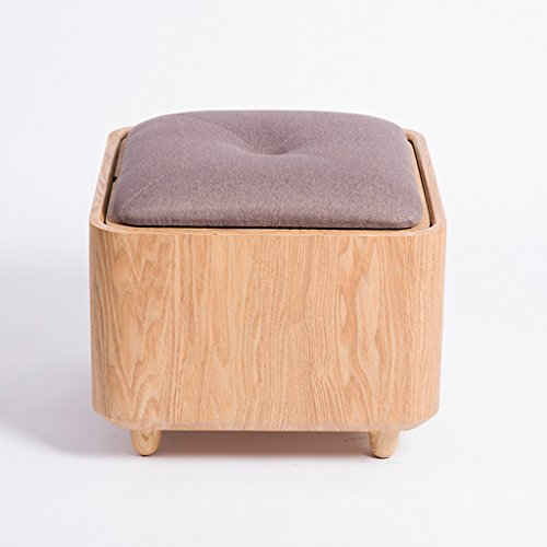 Tabouret de stockage de tissu de tabouret de chaussures de bois massif de cendres de Mandchourie polyvalent peut prendre le bureau minimaliste créatif de tabouret (Color : Purple)
