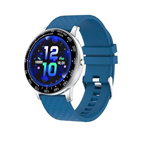 YDL Smart Watch para Android iOS Teléfono Hombres Mujeres Pantalla Táctil Completa Presión Arterial Tasa del Corazón Monitor De Sueño Impermeable Smartwatch (Color : Blue)
