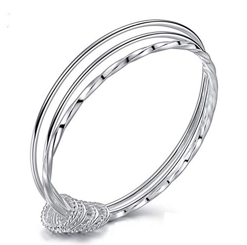 金桥S925 Silver Three-Ring Smooth Bangle for Girls