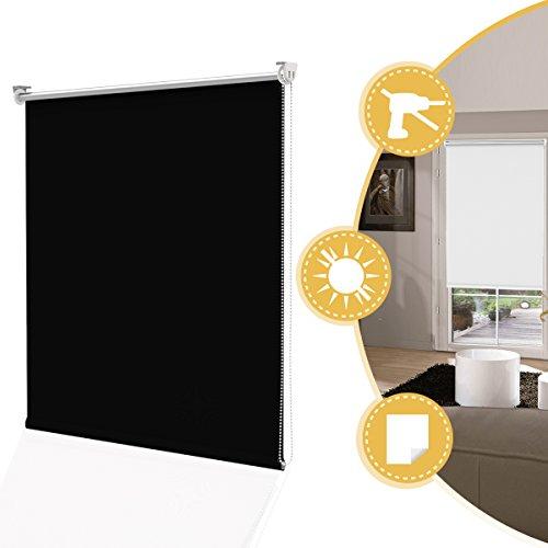 Deswell Estor Cortina sin Taladro Negro 90 x 170 cm - 100% Estor Enrol