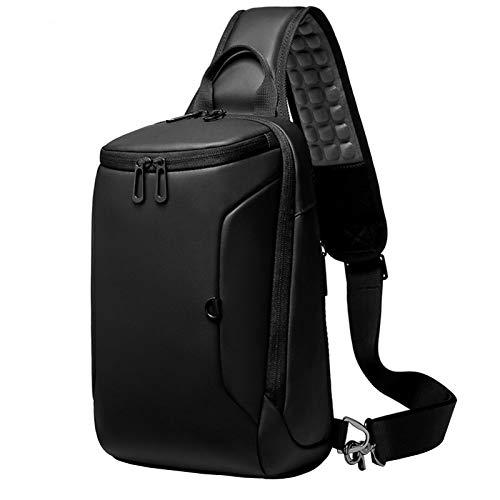 Adlereyire Sling Bag Fashion Chest Shoulder Backpack Crossbody Bag Ideal for Men Women Lightweight Outdoor Sports Travel Hiking (Color : Black, Size : 20 * 17 * 31cm)