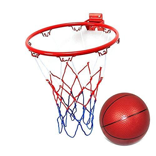Borde de baloncesto de 10 pulgadas, aro de meta de baloncesto, aro de baloncesto montado en la pared con 1 mini baloncesto, interior al aire libre..