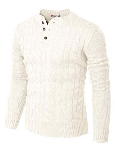 H2H Mens Casual Slim Fit Pullover Sweaters Knitted Henley Long Sleeve Thermal White US S/Asia M (CMOSWL042)