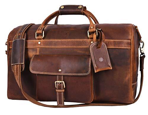 Aaron Leather 20 inch Full Grain Leather Weekender Duffle Bag (Brown)