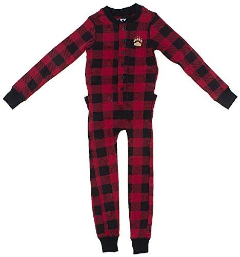 Sleepyheads - Bear Cheeks Lazy One Adult Red & Black Plaid Flapjacks Med)
