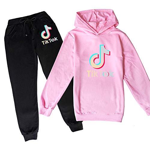 Sudadera con capucha y pantalones deportivos T-IK T-OK con logotipo de moda para niños y niñas
