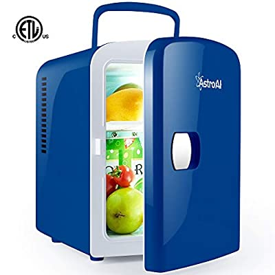 AstroAI Mini Fridge 4 Liter/6 Can for Skincare, Breast Milk, Foods, Medications- White, Blue, Black, Pink