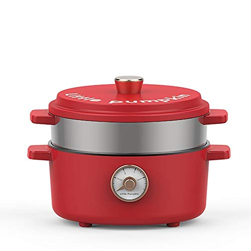 2L Retro électrique Skillet/travail soupe Pot/Compact mijoteuse/Isolation Hot Pot/Anti-sec,Red with steamed grid