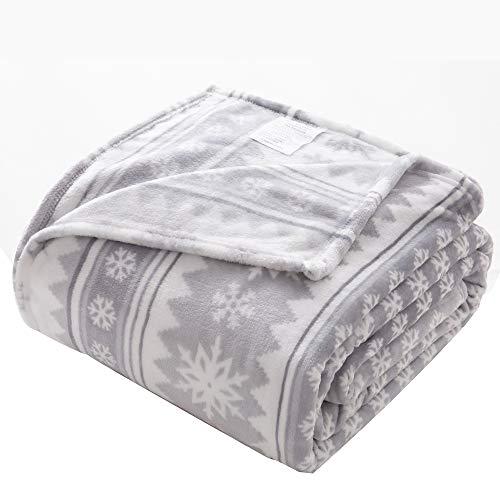 Chezmoi Collection Snowflake Printed Microfiber Flannel Fleece Blanket - Super Soft Cozy Lightweight Bed Blanket - Queen Size, Gray