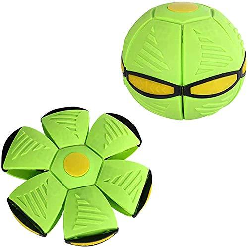 Bola mágica de ovni, bola de disco de lanzamiento plano con juguete de luz LED, juguete de bola de ventilación deformable, juego de playa para jardín al aire libre para niños (Verde)