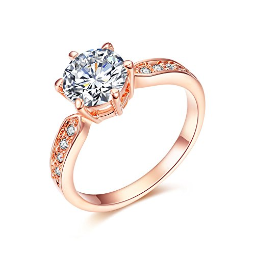 SPILOVE Serend 18k Rose Gold Plated 1.5ct Heart and Arrows Cut Cubic Zirconia Solitaire Wedding Engagement Rings, Size 7