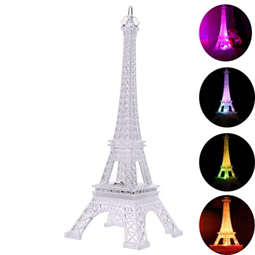 LEDMOMO Colorful Eiffel Tower Night Light,7 Colors LED Lamp Paris Fashion Style Acrylic Decoration Gift,5 inch
