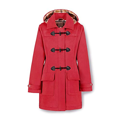 Hope & Henry Women's Toggle Duffle Coat with Detachable Hood Red