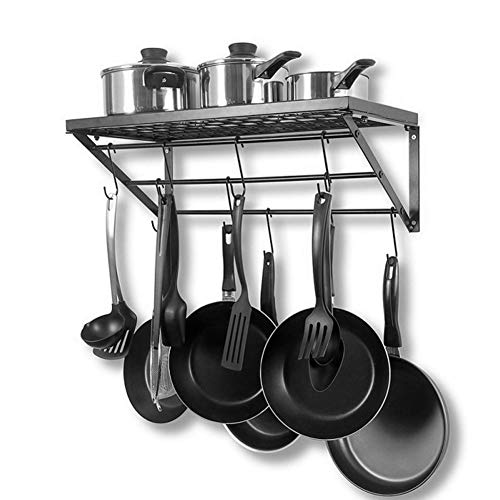 Küchenregal, Wand-Topfhalter, Hängender Küchentopf-Halter, Organizer für die Küche, Pfannenhalter, Schwarze Metall Pfannen-Regal Gewürzregal Topf Rack mit 10 S-förmigen Haken Maße: 60 x 25 x 25 cm