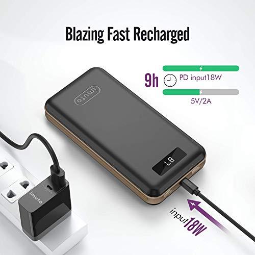 [Quick Charge 3.0 + USB-C] imuto 30000mAh Ultra Hohe Kapazität Externer Akku Powerbank mit USB TYPE-C und Qualcomm QC 3.0 / 2.0 Technologie 3-Port Ladegerät für Smartphones, Tablets, Macbook - Schwarz