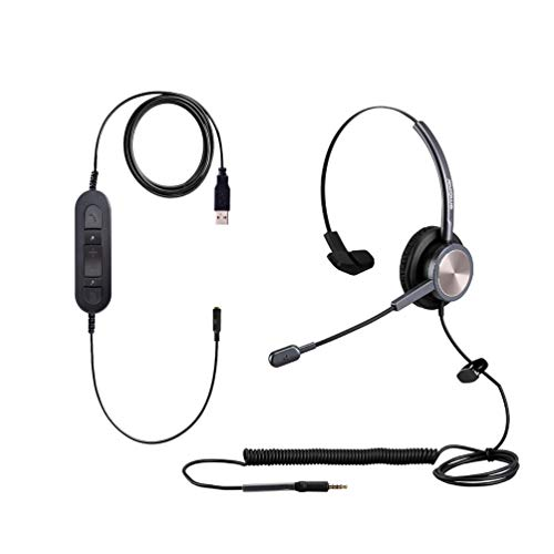 3.5mm One Ear Cellphone Headphone with for iPhone Samsung Galaxy Huawei BlackBerry Mi Over Ear USB Computer PC Headset with Noise Canceling Mic for PC Tablet Laptop Mac Skype Teams Dragon Zoom