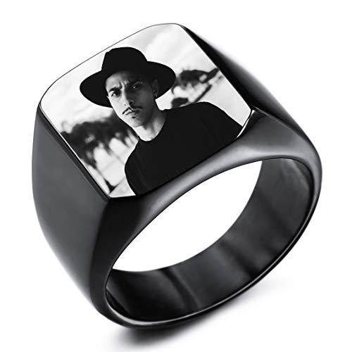INBLUE Personalisierte Siegelring Gravur Schwarzes Bild Gravur Benutzerdefiniert Foto für Männer Jungen Frauen Mädchen Memorial Edelstahl-Schmuckpaket mit Ring Größen Einstellen (Schwarze Farbe)
