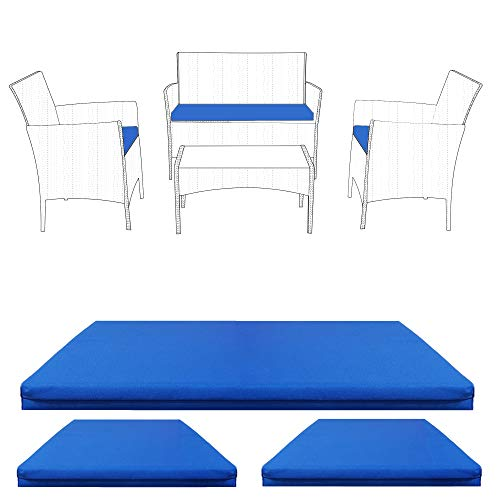 Essentials2publik Replacement 3pc Cushions | Outdoor Seat Cushion Pads for Rattan Furniture | Water Resistant Patio Furniture Chair Padding | Lightweight and Durable (Blue)