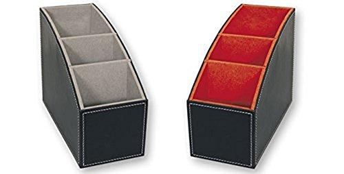 Portamandos Organizador de mandos a Distancia de Piel Negro con Terciopelo en el Interior: Naranja o Gris. Dakota. 1 Unidad