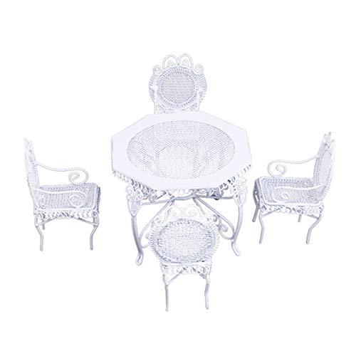 ENticerowts 1: 12 mini sillas de mesa de casa de muñecas, alta simulación DIY decoración hierro sillas jardín adornos, bricolaje escena accesorios blanco