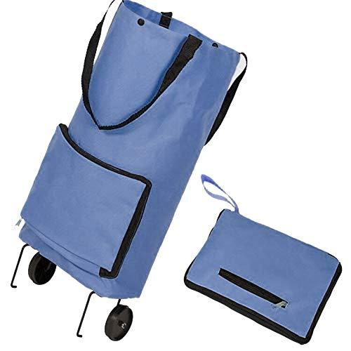GAOYI Bolsa de Compras Plegable con Ruedas Bolsa de Carrito Plegable Carrito de Compra Bolsa de Carrito de Compras Reutilizable Tienda de comestibles Plegable (Azul)