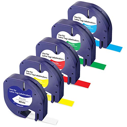 Compatible for Dymo Letratag 100H Refills for Dymo LetraTag Refills Colored Plastic Tape 91331 91332 91333 91334 91335 12mmx4m- 1/2 x 13 for Dymo Label Maker 2000 LT-100T Plus LT-110T QX50 XR,5-Pack