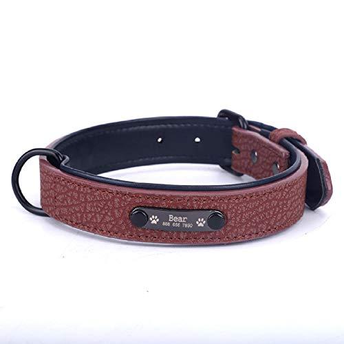 Collar Personalizado para Mascotas Cuero Duradero Placade identificaciónPersonalizada para CachorrosGrabadoAjustable Collarbásico de Cuero para Perros y Gatos-Brown_Collar_L_ (34-43cm)