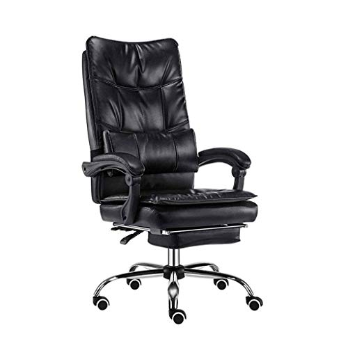 FGDSA Chairs Executive Recline Double Thickening Design, PU Leather Padding Desk Chair Reclining with Footrest Moving Lumbar Pillow Gaming Chair (Color : Black)
