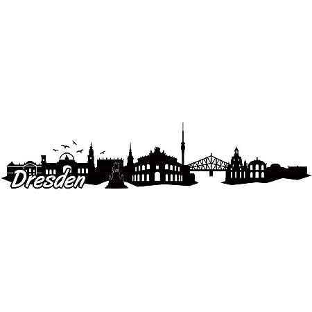 Samunshi Dresden Skyline Aufkleber Sticker Autoaufkleber City Gedruckt In 7 Größen 30x6 4cm Schwarz Küche Haushalt