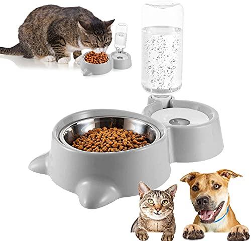 Doppia ciotola per animali domestici,2 in 1 Ciotola Per Gatti Ciotola per Gatti Doppia con Supporto Rialzato,Distributori Automatici di Cibo & Acqua,per Gatti e Cani