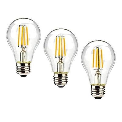 Leadleds A19 4W LED Filament Bulb Edison Style Light Bulb, UL Listed 40W Equivalent E26 Medium Base Soft White 2700K, A1904D