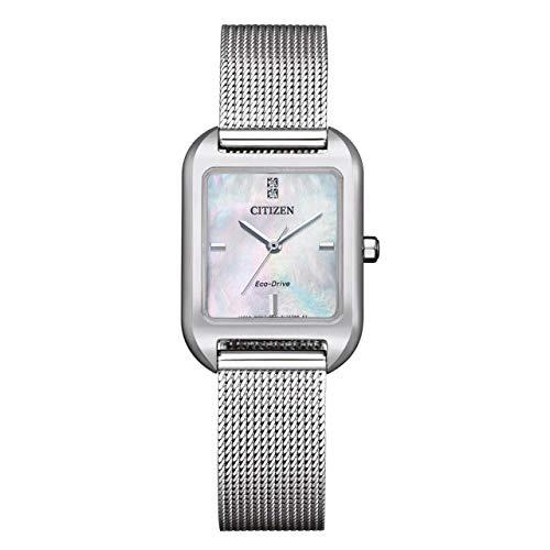 Citizen Eco-Drive EM0491-81D - Reloj solar para mujer con correa milanesa
