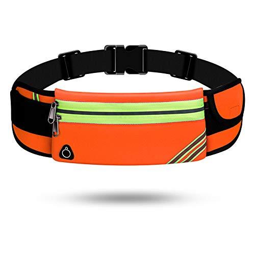RTY Bolsa de cintura deportiva Correr Bolsa de teléfono móvil para hombres y mujeres Multifuncional equipo al aire libre impermeable invisible nuevo mini cinturón bolsa Doublezipperorange
