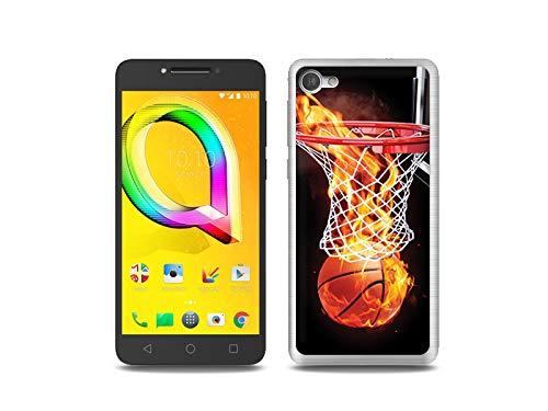 etuo Handyhülle für Alcatel A5 LED - Hülle, Silikon, Gummi Schutzhülle Foto Hülle - Zeit für Basketball