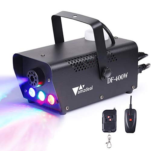 amzdeal Fog Machine with LED Lights, Portable Smoke Machine with Wired and Wireless Remote Control for Christmas Lights, Home Decor, Party, Halloween and Weddings (400W)