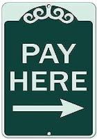 ウォールアートティンサインクリスマスおかしいギフト男性、ここで支払う右矢印ビジネスB、ティンウォールサインレトロアイアン絵画ヴィンテージメタルプラークハンギングポスター用バーカフェストアホームヤード