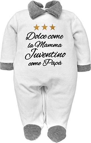 Pijama de bebé nacido para fanáticos de la Juventus, Interistas y Milanistas con frase divertida bordada, dulce como la madre y aficionado como papá. Chenilla, gris melange 0-3 Meses