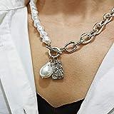 WDam Collar de Cadenas de Bloqueo de Perlas Irregulares barrocas Vintage Colgante de ángel geométrico Collares de Amor para Mujeres Punk, Plata