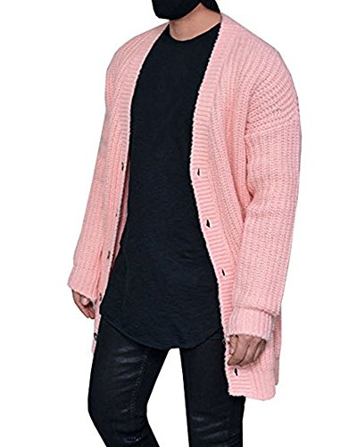 Mens Cardigan Sweaters Open Front Long Sleeve Button Up Cable Knit Cardigans with Pocket Pink