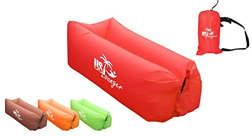 US Lounger Red Headrest Fast Inflatable Portable Outdoor or Indoor Wind Bed Lounger, Air Bag Sofa, Air Sleeping Sofa Couch, Lazy Bed for Camping, Beach, Park, Backyard
