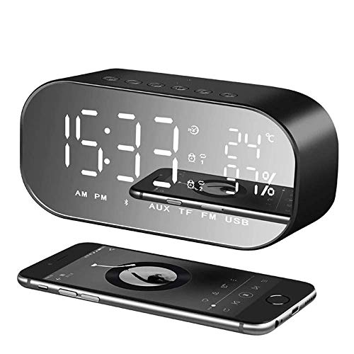 Reloj despertador con radio FM digital inalámbrico, RabbitStorm, altavoz Bluetooth 4.2, pantalla LED de espejo, pantalla de...
