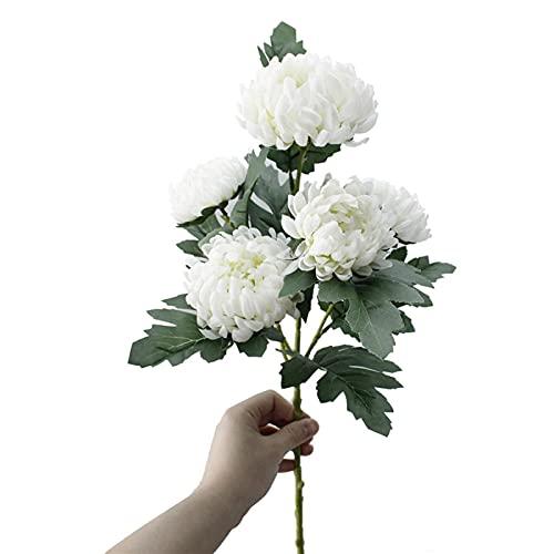 WANGJBH Dried Flowers 5 têtes de Gros Fleurs de la Soie chrysanthème Artificielle Fleurs artificielles Marigolds de Mariage Automne Maison décorative Fausse Branches de Plantes A8736 Potpourri