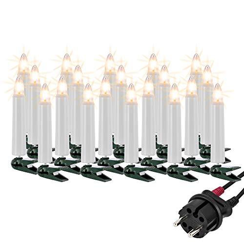 Hellum Lichterkette außen / 20 Glühfaden warm-weiß Riffelkerzen/Länge 19 m + 2x1,5 m Zuleitung, schwarzes Gummi-Kabel/Fassungsabstand 100 cm/teilbarer Stecker/Weihnachten / 842012